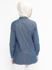 Blue - Point Collar - Denim - Blouses