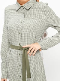 Khaki - Checkered - Point Collar - Unlined - Dresses