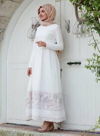 Dream Abiye Elbise - Pudra Beyaz - Gamze Özkul
