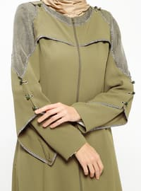 Khaki - Unlined - Crew neck - Topcoat