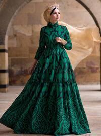 Green Diamond Abiye Elbise - Zümrüt Yeşili - Muslima Wear