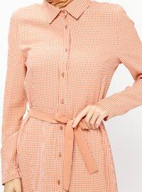 Terra Cotta - Checkered - Point Collar - Unlined - Dresses