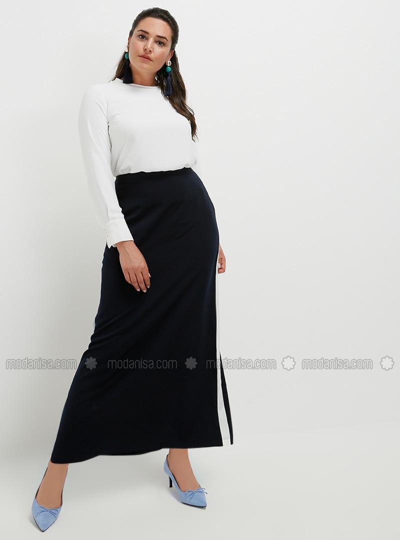 White - Navy Blue - Ecru - Unlined - Plus Size Skirt