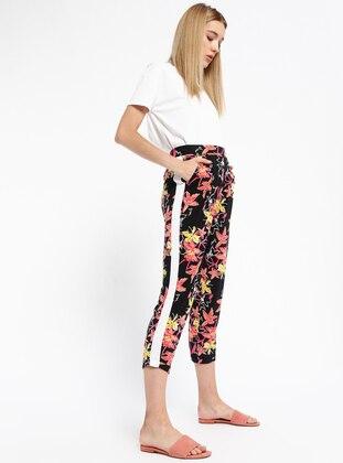 Beli Lastikli Desenli Pantolon - Siyah - Koton Ürün Resmi