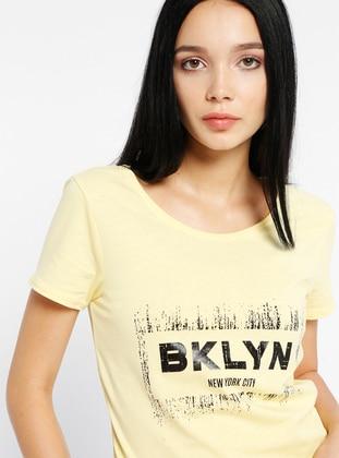 Baskılı Tişört - Sarı - Koton Ürün Resmi