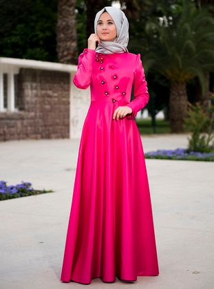 Pink - Unlined - Crew neck - Muslim Evening Dress