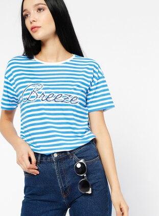 Çizgili Tişört - Mavi - Koton Ürün Resmi