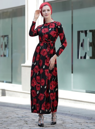 Black - Maroon - Floral - Crew neck - Unlined - Dresses