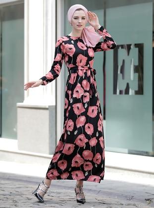 Black - Powder - Floral - Crew neck - Unlined - Dresses