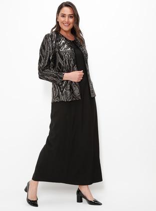 Black - Silver Tone - Crew neck - Fully Lined - Plus Size Evening Suit - Arıkan