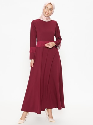 Maroon - Plum - Crew neck - Unlined - Dresses