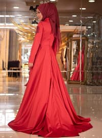Red - Multi - Fully Lined - Crew neck - Muslim Evening Dress