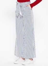White - Navy Blue - Ecru - Stripe - Pants