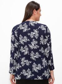 Navy Blue - Floral - Crew neck - Plus Size Blouse