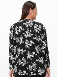 Black - Floral - Crew neck - Plus Size Blouse