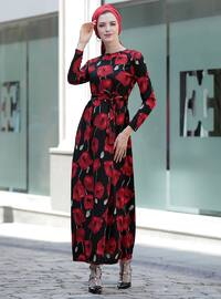Black - Maroon - Floral - Crew neck - Unlined - Dresses