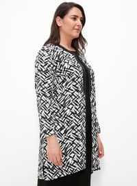 Black - Multi - Crew neck - Unlined - Plus Size Evening Suit