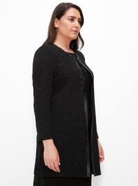 Black - Crew neck - Half Lined - Plus Size Evening Suit