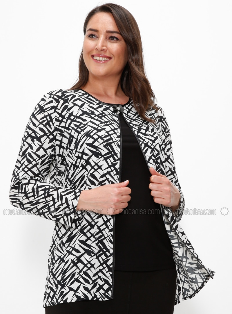 Black - Multi - Crew neck - Unlined - Plus Size Evening Suit
