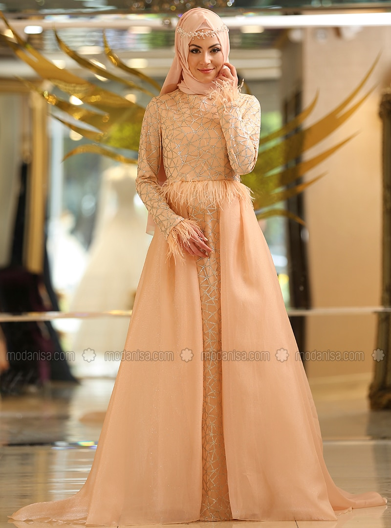 0182704d09dd3 Salmon - Fully Lined - Crew neck - Muslim Evening Dress