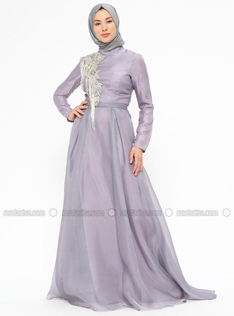 d41e1649e67 Lilac - Fully Lined - Polo neck - Muslim Evening Dress. Fotoğrafı büyütmek  için tıklayın