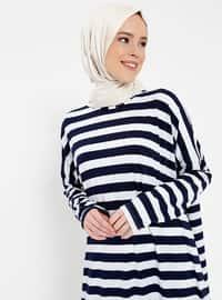 Navy Blue - Stripe - Crew neck - Unlined - Dresses