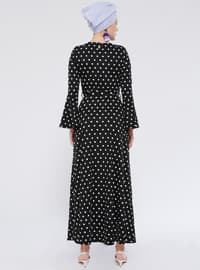 Black - White - Polka Dot - Crew neck - Unlined - Dresses
