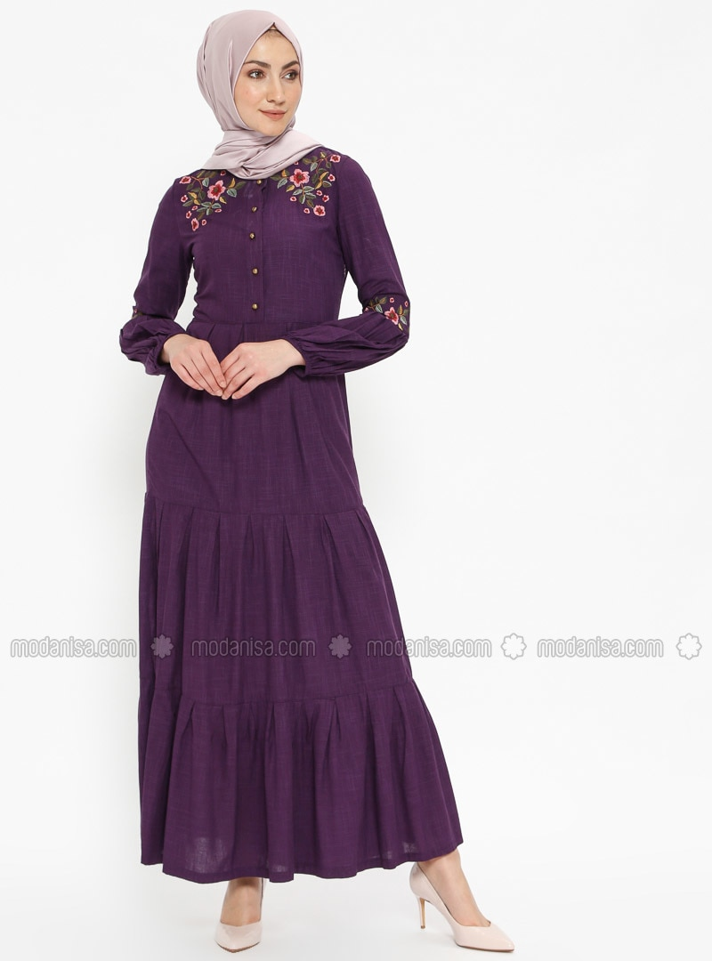 Purple - Crew neck - Unlined - Viscose - Dresses