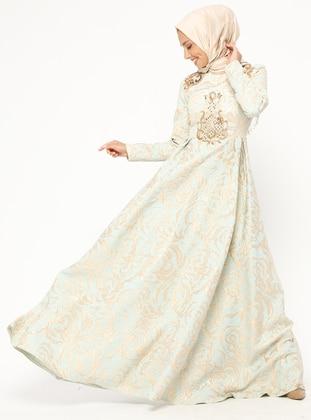 Mint - Multi - Fully Lined - Crew neck - Muslim Evening Dress