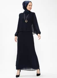 Navy Blue - Crew neck - Fully Lined - Dresses