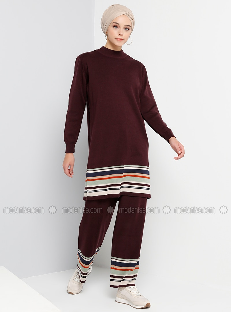 Plum - Stripe - Cotton - Acrylic - Pants