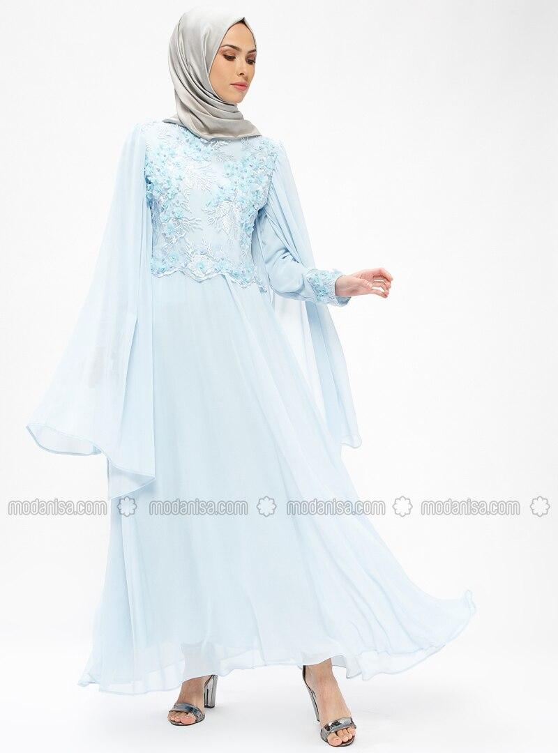 d443eb4dab1fb Çiçekli Şifon Detaylı Abiye Elbise - Mavi