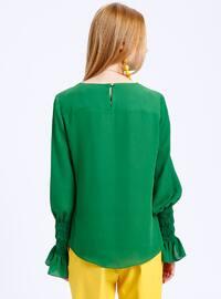 Green - Crew neck - Blouses