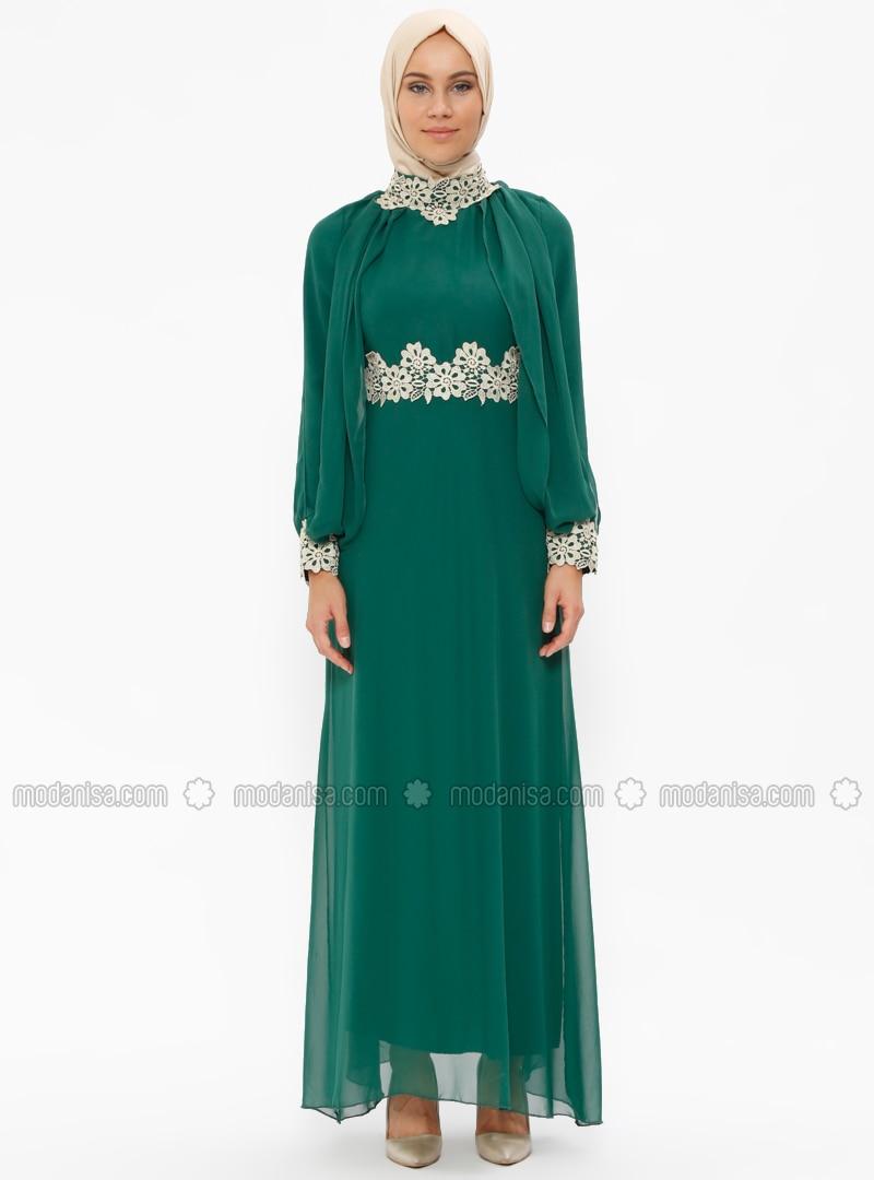 7a3a530762216 Güpür Detaylı Abiye Elbise - Yeşil