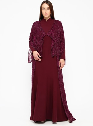 Cherry - Fully Lined - Crew neck - Muslim Plus Size Evening Dress