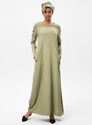 Green - Crew neck - Cotton - Dresses