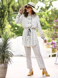 Beige - Checkered - Unlined - Suit