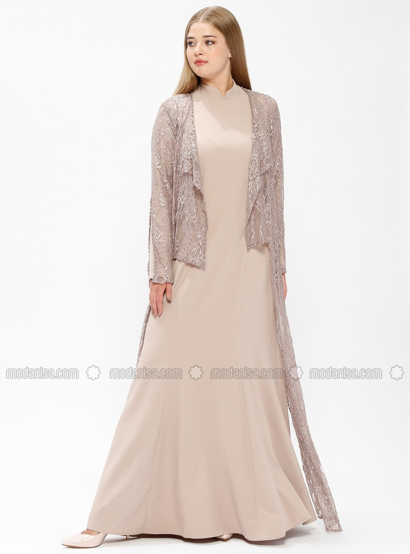 Beige - Fully Lined - Crew neck - Muslim Plus Size Evening Dress