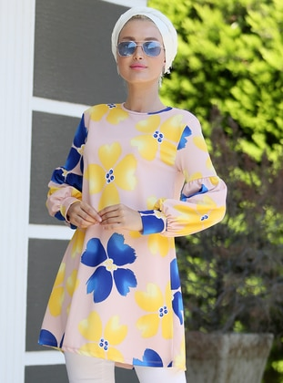 Yellow - Navy Blue - Floral - Crew neck - Tunic