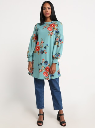 Mint - Coral - Floral - Crew neck - Tunic