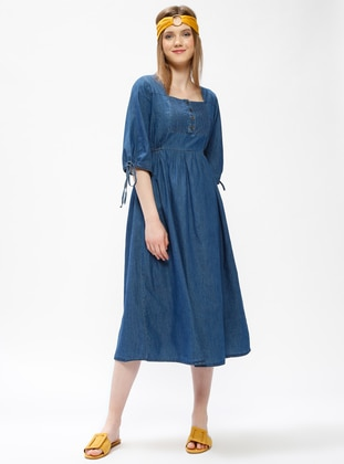 Blue - Crew neck - Unlined - Denim - Dresses