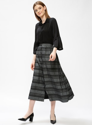Gray - Stripe - Unlined - Skirt