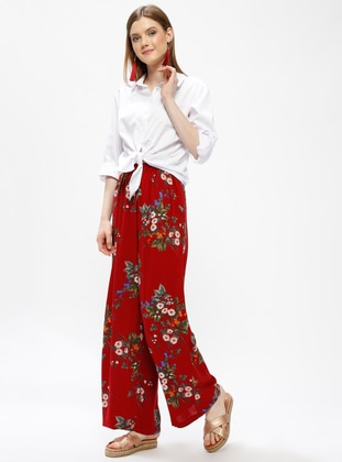 Maroon - Multi - Viscose - Pants