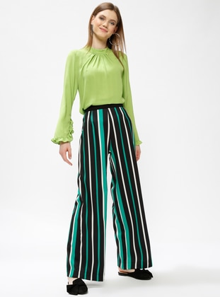 Green - Stripe - Pants