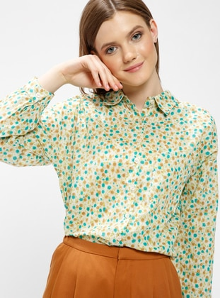 Green - Multi - Point Collar - Blouses