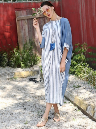 Blue - Stripe - Crew neck - Cotton - Dresses - Tommy Life