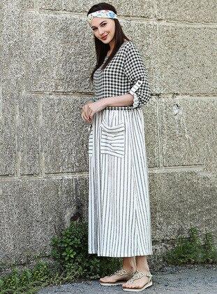 Khaki - Stripe - Plaid - Crew neck - Cotton - Dresses - Tommy Life