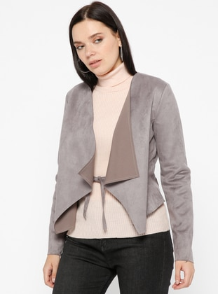 Gray - Unlined - Shawl Collar - Jacket