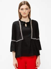 Black - V neck Collar - Blouses
