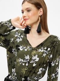 Green - Multi - Unlined - V neck Collar - Jumpsuit